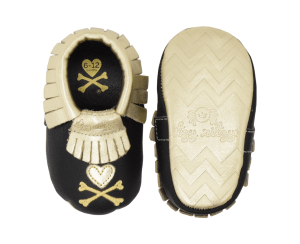 Itzy Ritzy Moc Happens - Tokidoki Baby Moccasins Shoes - Hearts and Cross Bones - Blashful
