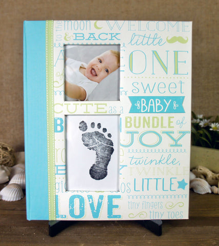 Pearhead Baby Memory Book - Little Blossom - Blue Vintage