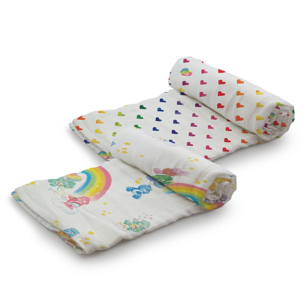 Kanga Care - Care Bears - Serene Swaddles - Watercolor Rainbow 2 pk