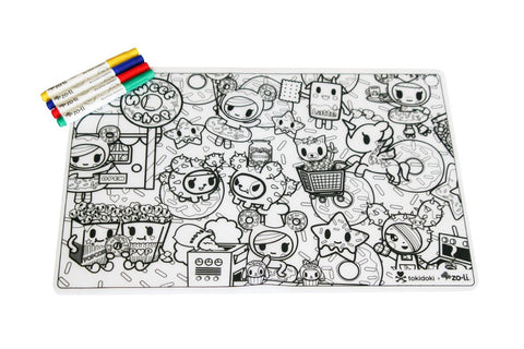 ZoLi TokiMATTIES - Donutella Sweet Shop - Colorable Silicone Placemats - Tokidoki Accessories