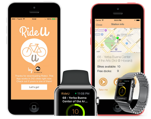 RideU cyclism app checks 250 municipal bicycle rental services in 25 countries, ascertains bike availability, finds empty bicycle bays... the best cycling app in Apple Store and Android AppStore