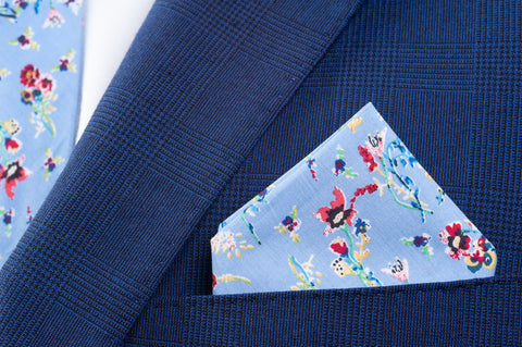 Smyth & Gibson 100% Cotton Floral Tie & Pocket Square in Turquoise Blue