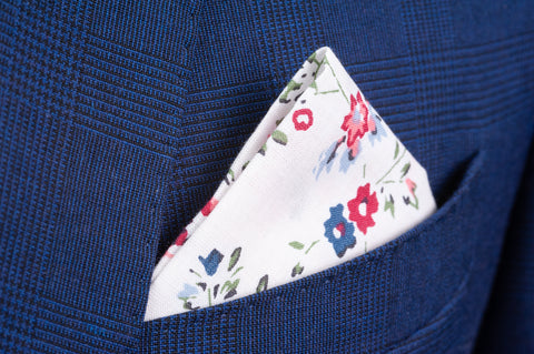 Smyth & Gibson 100% Cotton Floral Tie & Pocket Square in White, Cranberry & Wild Blue