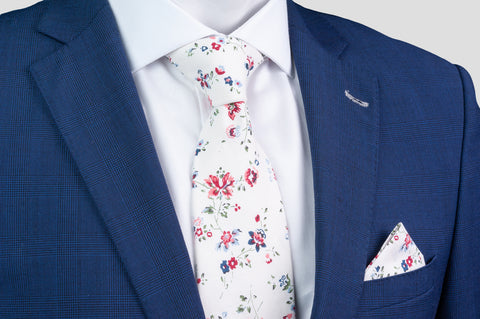 Smyth & Gibson 100% Cotton Floral Tie & Pocket Square in White, Cranberry & Wild Blue - Smyth & Gibson Shirts