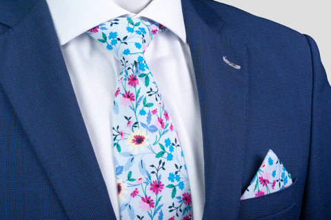 Smyth & Gibson 100% Cotton Floral Tie & Pocket Square in Soft Blue - Smyth & Gibson Shirts