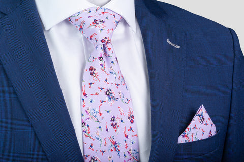 Smyth & Gibson 100% Cotton Floral Tie & Pocket Square in Lavender - Smyth & Gibson Shirts