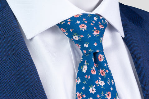 Smyth & Gibson 100% Cotton Floral Tie & Pocket Square in Denim Blue