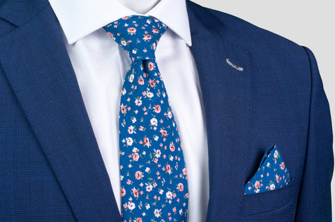 Smyth & Gibson 100% Cotton Floral Tie & Pocket Square in Denim Blue - Smyth & Gibson Shirts