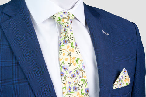 Smyth & Gibson 100% Cotton Floral Tie & Pocket Square in Cane Green - Smyth & Gibson Shirts