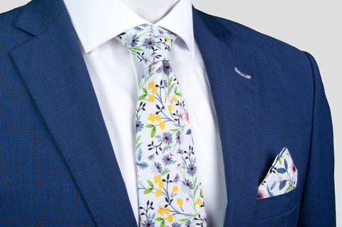 Smyth & Gibson 100% Cotton Floral Tie & Pocket Square in Lilac - Smyth & Gibson Shirts