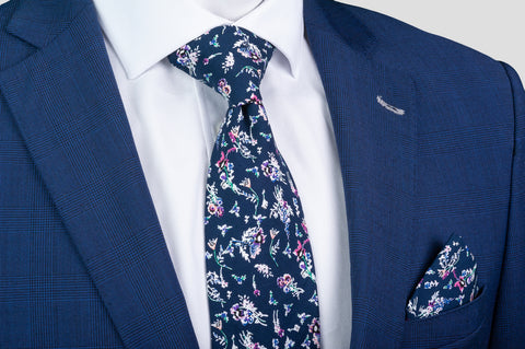 Smyth & Gibson 100% Cotton Floral Tie & Pocket Square in Regal Blue - Smyth & Gibson Shirts
