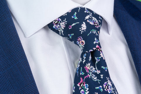 Smyth & Gibson 100% Cotton Floral Tie & Pocket Square in Regal Blue