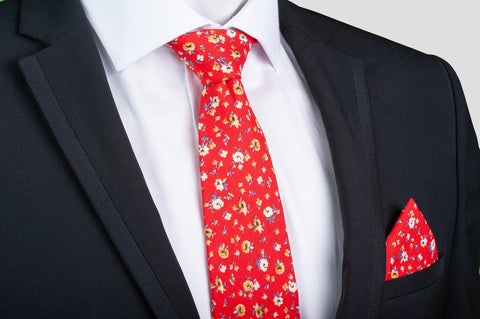 Smyth & Gibson 100% Cotton Floral Tie & Pocket Square in Venetian Red