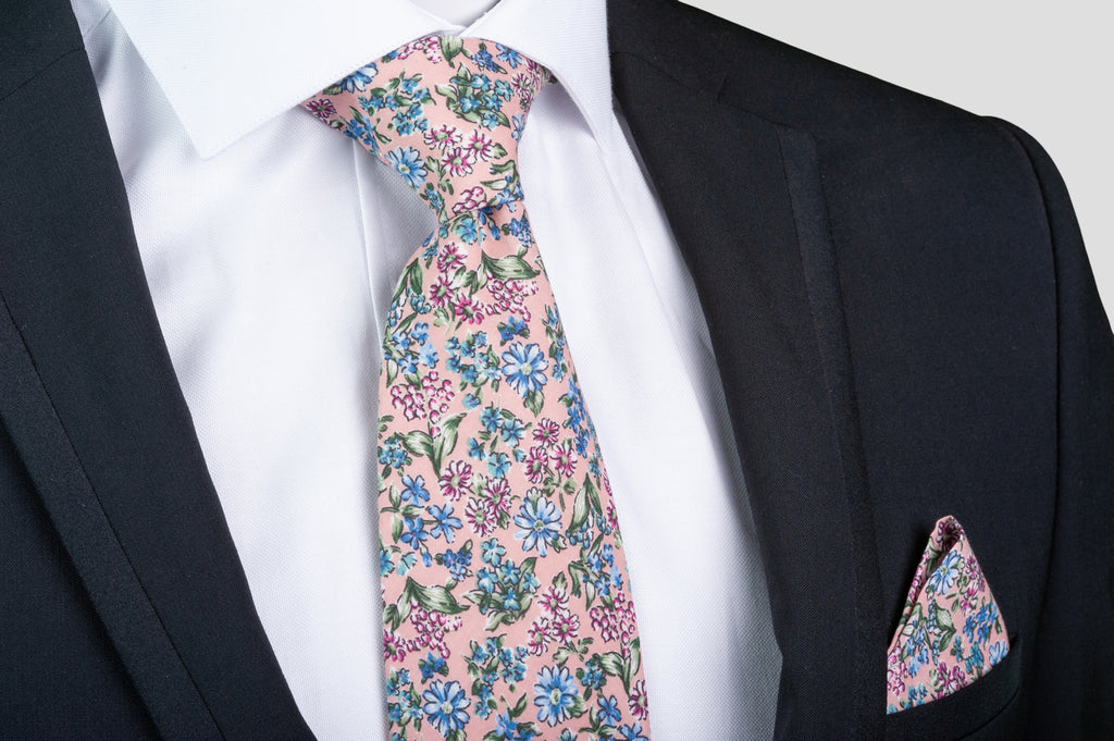 8a4a22c8f076 Smyth & Gibson 100% Cotton Floral Tie & Pocket Square in Cavern Pink