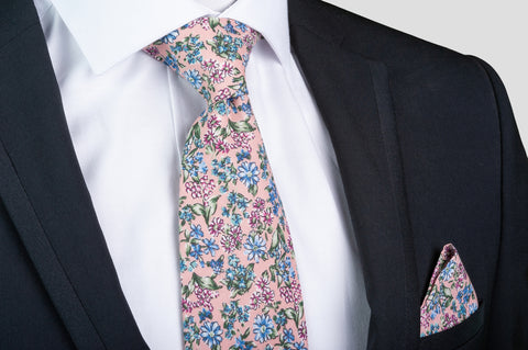 Smyth & Gibson 100% Cotton Floral Tie & Pocket Square in Cavern Pink - Smyth & Gibson Shirts