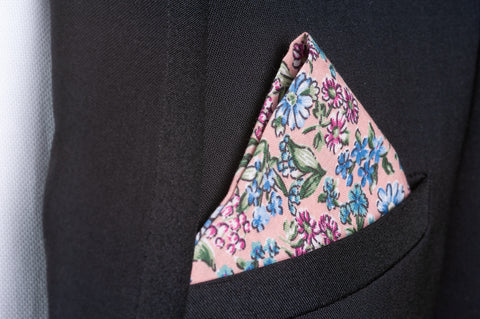 Smyth & Gibson 100% Cotton Floral Tie & Pocket Square in Cavern Pink