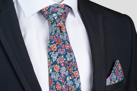 Smyth & Gibson 100% Cotton Floral Tie & Pocket Square in Oriental Blue - Smyth & Gibson Shirts