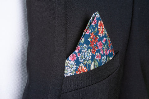 Smyth & Gibson 100% Cotton Floral Tie & Pocket Square in Oriental Blue