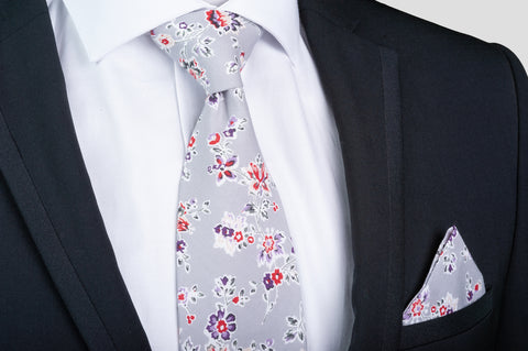 Smyth & Gibson 100% Cotton Floral Tie & Pocket Square in Lavender Grey