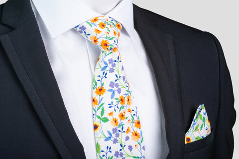 Smyth & Gibson 100% Cotton Floral Tie & Pocket Square in White, Violet & Orange