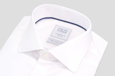 Smyth & Gibson Non-Iron 100% Cotton Twill Contemporary Fit Double Cuff Shirt in White - Smyth & Gibson Shirts