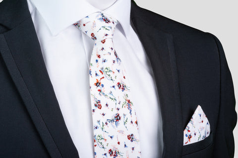 Smyth & Gibson 100% Cotton Floral Tie & Pocket Square in White, Blue & Red - Smyth & Gibson Shirts