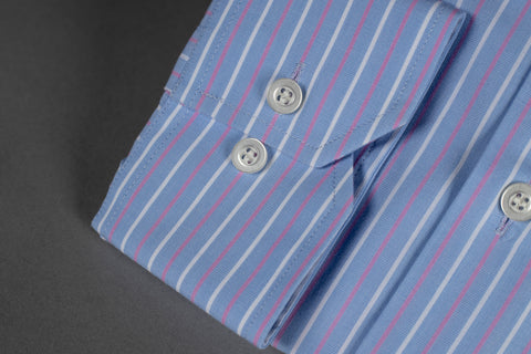 SMYTH & GIBSON  BENGAL STRIPE SHIRT IN PINK/BLUE
