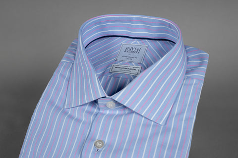 SMYTH & GIBSON  BENGAL STRIPE SHIRT IN PINK/BLUE - Smyth & Gibson Shirts