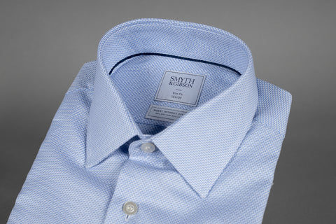 SMYTH & GIBSON ZIG ZAG PRINT SLIM FIT SHIRT IN BLUE - Smyth & Gibson Shirts