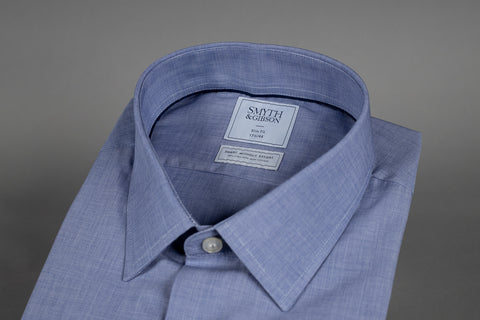 SMYTH & GIBSON SLIM FIT SOFT NAVY END ON END SHIRT - Smyth & Gibson Shirts