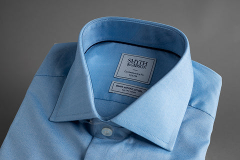 Contemporary Fit Cutaway Collar Blue End on End - Smyth & Gibson Shirts