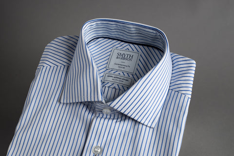 Smyth & Gibson SWE Contemporary Cutaway Twisted Blue Stripe contrast Cuff & Collar - Smyth & Gibson Shirts
