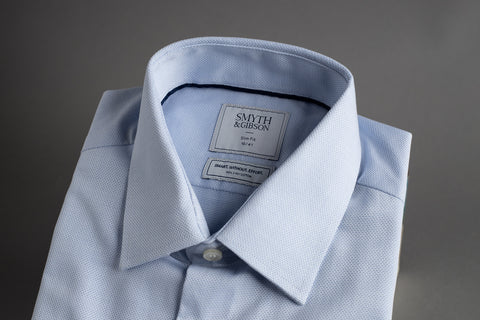 Smyth & Gibson SWE Slim Penny Square Blue Textured Weave - Smyth & Gibson Shirts
