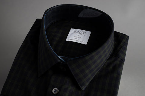 Copy of Smyth & Gibson Tailored Penny Square Edge Navy Green Check - Smyth & Gibson Shirts