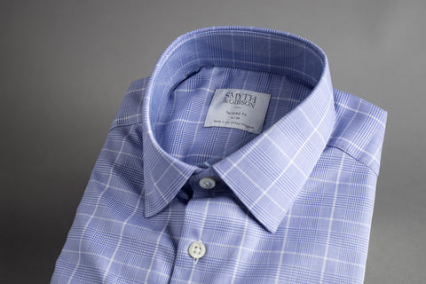 Smyth & Gibson Tailored Penny Square Blue Gingham Check