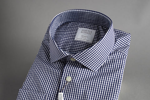 Smyth & Gibson Tailored Cutaway Poplin Navy Gingham Check