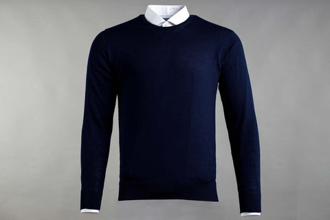MERINO WOOL CREW NECK JUMPER IN NAVY - Smyth & Gibson Shirts