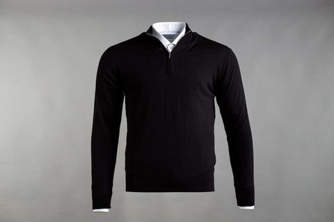 MERINO WOOL ZIP NECK JUMPER IN BLACK - Smyth & Gibson Shirts