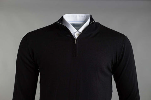 MERINO WOOL ZIP NECK JUMPER IN BLACK