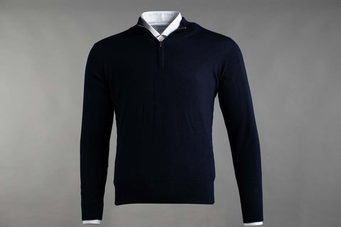 MERINO WOOL ZIP NECK JUMPER IN NAVY - Smyth & Gibson Shirts