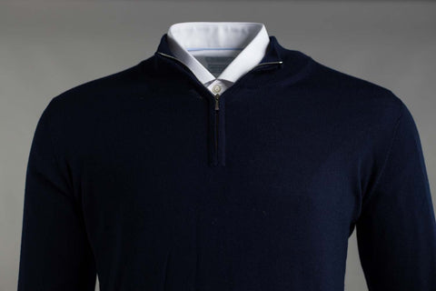MERINO WOOL ZIP NECK JUMPER IN NAVY