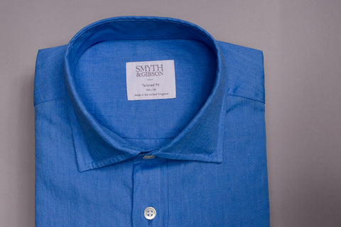SMYTH & GIBSON 100% LUXURY IRISH LINEN SHIRT IN DEEP BLUE