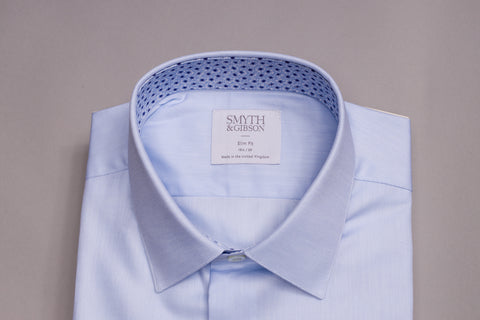 SMYTH & GIBSON BLUE TWILL SHIRT WITH FLORAL CONTRAST