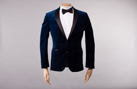 Remus Uomo Dark blue slim fit velvet jacket