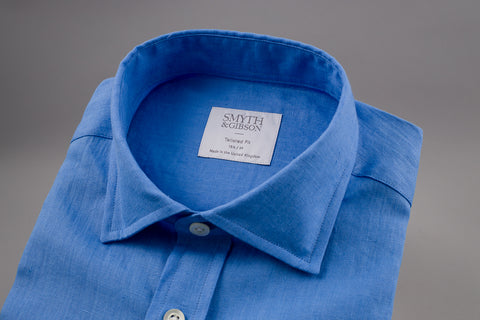 SMYTH & GIBSON 100% LUXURY IRISH LINEN SHIRT IN DEEP BLUE - Smyth & Gibson Shirts