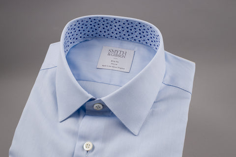 SMYTH & GIBSON BLUE TWILL SHIRT WITH FLORAL CONTRAST - Smyth & Gibson Shirts