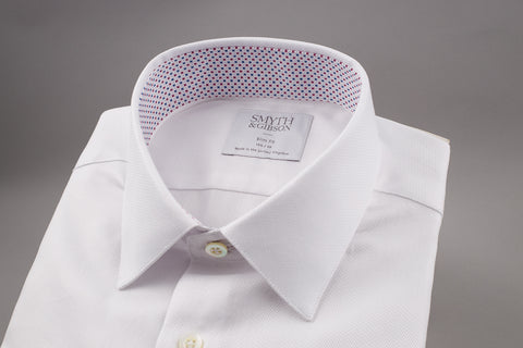 SMYTH & GIBSON WHITE TWILL SHIRT WITH FLORAL CONTRAST