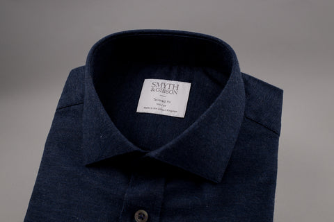 SMYTH & GIBSON BRUSHED MELANGE SHIRT NAVY TWILL SHIRT
