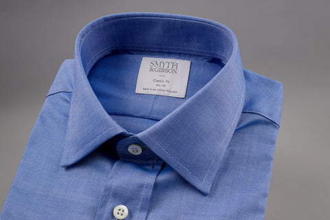 SMYTH & GIBSON CLASSIC FIT OXFORD SHIRT IN BLUE - Smyth & Gibson Shirts