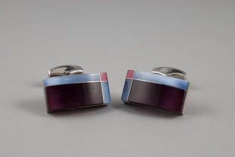 Tateossian Purple/Blue Cufflinks - Smyth & Gibson Shirts